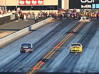 Jul 28, 2017; Sonoma, CA, USA; NHRA pro stock driver Vincent Nobile (left) races alongside Jeg Coughlin Jr during qualifying for the Sonoma Nationals at Sonoma Raceway. Mandatory Credit: Mark J. Rebilas-USA TODAY Sports