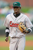 Shortstop Devaris Gordon #5 jogs off the field at Fifth Third Field April 21, 2009 in Dayton, Ohio. (Photo by Brian Westerholt / Four Seam Images)