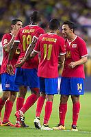 Action photo during the match Colombia vs Costa Rica, Corresponding to  Group -A- of the America Cup Centenary 2016 at NRG Stadium.<br /> <br /> Foto de accion durante el partido Colombia vs Costa Rica, Correspondiente al Grupo -A- de la Copa America Centenario 2016 en el Estadio NRG , en la foto: (i-d) Johan Venegas,Francisco Calvo y Randall Azofeifa celebran gol de Costa Rica <br /> <br /> <br /> 11/06/2016/MEXSPORT/Jorge Martinez.