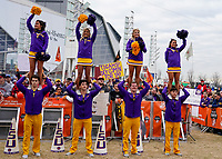 ATLANTA, GA - DECEMBER 7: LSU Cheerleaders and fans at ESPN College Game Day during a game between Georgia Bulldogs and LSU Tigers at Mercedes Benz Stadium on December 7, 2019 in Atlanta, Georgia.