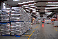 Bags of feed stored in feed processing plant...Copyright John Eveson 01995 61280..j.r.eveson@btinternet.com