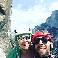 """Pictured: Andrew and Lucy Foster at Yosemite National Park.<br /> Re: A British climber was killed and his wife seriously injured living their """"big dream"""" on one of the toughest rock faces in the world.<br /> Andrew Foster, 32, and his wife Lucy, 28, were buried under tons of falling rock as they prepared for their climb.<br /> Experienced climber Andrew was killed but Lucy was rescued and airlifted to hospital where she was in a """"critical"""" condition.<br /> The couple were married a year ago and the three-week trip to the Yosemite National Park in California was part of their first wedding anniversary celebrations.<br /> They had ben training for the expedition for six months and flew off to the States on September 11 along with other members of their climbing club.<br /> Andrew and Lucy, from Cardiff, were scouting out a descent of the iconic rockface El Capitan when a """"sheet"""" of granite fell on them.<br /> Rangers on the national park beauty spot said a piece of granite 40 metres by 20 metres fell from a height of 200 metres while the couple were below.<br /> Patagonia, a company owned by Andrew Foster has confirmed the incident."""