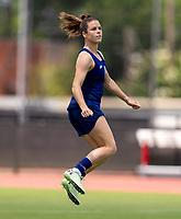 HOUSTON, TX - JUNE 12: Kelley O'Hara #5 of the USWNT celebrates during a training session at University of Houston on June 12, 2021 in Houston, Texas.