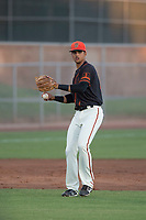 AZL Giants Black third baseman Abdiel Layer (17) prepares to make a throw to first base during an Arizona League game against the AZL Angels at the San Francisco Giants Training Complex on July 1, 2018 in Scottsdale, Arizona. The AZL Giants Black defeated the AZL Angels by a score of 4-2. (Zachary Lucy/Four Seam Images)