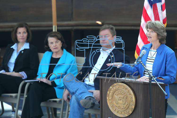 U.S. Sen. Lisa Murkowski, R-Alaska, speaks at the 22nd annual Lake Tahoe Summit, at Sand Harbor State Park, near Incline Village, Nev., on Tuesday, Aug. 7, 2018. <br /> Photo by Cathleen Allison/Nevada Momentum