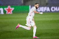 April 27th 2021; Alfredo Di Stefano Stadium, Madrid, Spain;  UEFA Champions League. Karim Benzema of Real Madrid celebrates scoring the equalising goal for 1-1 in the 29th minute during the Champions League match, semifinals between Real Madrid and Chelsea FC played at Alfredo Di Stefano Stadium