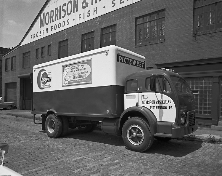 Client: Morrison and McCluan Trucking company<br /> Ad Agency: W. Craig Chambers<br /> Contact: H.A. McCoy<br /> Product: PictSweet Frozen Foods<br /> Location: Strip District food warehouse<br /> <br /> Photographic assignment for Morrison and McCluan trucking company, located in the Strip District, delivered frozen foods throughout the Pittsburgh area during the '40s, '50,s and '60s. PictSweet has been a family-owned and family-run business for 4 generations.