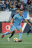 FOXBOROUGH, MA - SEPTEMBER 29: Tony Rocha #15 of New York City FC prepares to pass the ball during a game between New York City FC and New England Revolution at Gillettes Stadium on September 29, 2019 in Foxborough, Massachusetts.
