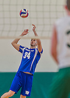 22 February 2015: Yeshiva University Maccabee Middle Blocker Tuvia Marks, a Sophomore from Los Angeles, CA, in action against the Sage College Gators at the Kahl Gymnasium, in Albany, NY. The Maccabees fell to the Gators 3-0 in NCAA Division III Men's Volleyball Skyline play. Mandatory Credit: Ed Wolfstein Photo *** RAW (NEF) Image File Available ***