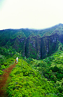 Hiking on the Maunawili Trail on the windward side of Oahu. This trail leads to the Maunawili Falls.