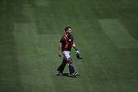 SAN FRANCISCO, CA - JULY 6:  Buster Posey #28 of the San Francisco Giants works out during summer training camp at Oracle Park on Monday, July 6, 2020 in San Francisco, California. Due to COVID-19, the 2020 MLB season has been postponed with players just beginning to return for warmups and practices while wearing masks and keeping social distance. (Photo by Brad Mangin)
