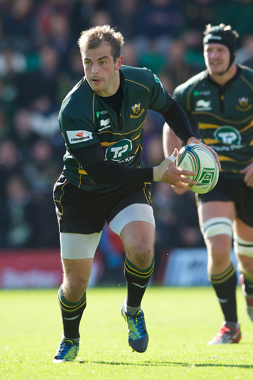 Stephen Myler of Northampton Saints in action during the Heineken Cup match between Northampton Saints and Glasgow Warriors  at Franklin's Gardens on Sunday 14th October 2012 (Photo by Rob Munro)