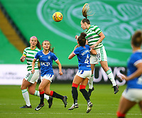 21st April 2021; Celtic Park, Glasgow, Scotland; Scottish Womens Premier League, Celtic versus Rangers; Anna Filbey of Celtic Women clears the ball from Emma Brownlie of Rangers Women