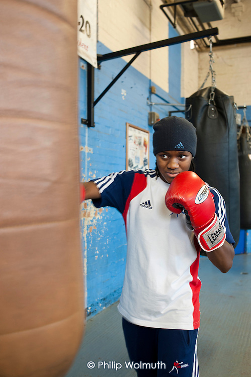Nicola Adams, photographed training at the Tottenham Sports Centre boxing gym, is a member of the UK women's boxing squad for the London 2012 Olympics, and gold medallist at the 2011 EU Women's Boxing Championships.
