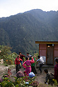 India - Sikkim - Local villagers celebrating a Lepcha wedding dancing in the mountains in the village of Keshel.