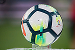 A soccer ball for La Liga Santander is seen prior to the La Liga 2017-18 match between Real Madrid and Valencia CF at the Estadio Santiago Bernabeu on 27 August 2017 in Madrid, Spain. Photo by Diego Gonzalez / Power Sport Images