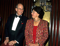 Montreal (Qc) CANADA - 1995 File Photo -Charles Bronfman, Seagram's co-Chairman and his wife.<br /> <br /> Charles Rosner Bronfman, PC, CC (born June 27, 1931 in Montreal) is a Canadian businessman and philanthropist.<br /> <br /> He is the son of Samuel and Saidye Bronfman; his siblings are Minda, architecture expert Phyllis, and Edgar. He is the uncle of Edgar Bronfman, Jr.. Charles Bronfman is the widower of his second wife, Andrea Bronfman.<br /> <br /> PHOTO :  Agence Quebec Presse