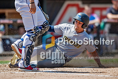 23 June 2019: Trenton Thunder infielder Brandon Wagner slides home safely to score Trenton's second run of the game in the 2nd inning against the New Hampshire Fisher Cats at Northeast Delta Dental Stadium in Manchester, NH. The Thunder defeated the Fisher Cats 5-2 in Eastern League play. Mandatory Credit: Ed Wolfstein Photo *** RAW (NEF) Image File Available ***
