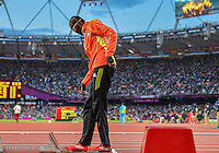 August 05, 2012: Rabah Yousif of SUD prepares to compete in men's 400m semifinal event at the Olympic Stadium on day nine of 2012 Olympic Games in London, United Kingdom.