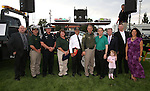 Regional dignitaries, from left, Ken Gray, CCSO Chaplain Joel Buxton, NHP Chief Troy Abney, CCSO D.A.R.E. Officer Lisa Davis, Gary Armstrong, CCSO Sheriff Ken Furlong, Mayor Bob Crowell, Gerald Gardner, Mark Sutliff and Yolanda Garcia participated in the 11th annual National Night Out hosted by the Carson City Sheriff's Office in Carson City, Nev., on Tuesday, Aug. 6, 2013. <br /> Photo by Cathleen Allison