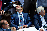 JUNE 3, 2015: Justin Zayat gives a sigh of relief after American Pharoah drew the five post during the Belmont Stakes Post Position Draw at Rockefeller Center in New York, NY. Scott Serio/ESW/CSM