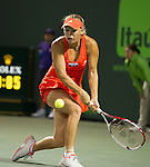 Caroline Wozniacki wins her match  at the Sony Ericsson Open in Key Biscayne, Florida on March 27, 2012.