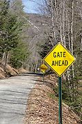 Gate ahead sign along Tripoli Road in Thornton, New Hampshire USA. Parts of this road follows the old  Woodstock & Thornton Gore Railroad which was a logging railroad in operation from 1909-1914.