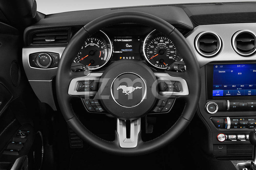 Car pictures of steering wheel view of a 2020 Ford Mustang EcoBoost-Premium 2 Door Convertible Steering Wheel
