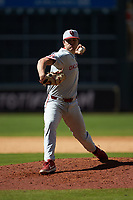 Oklahoma Sooners relief pitcher Ledgend Smith (18) in action against the Missouri Tigers in game four of the 2020 Shriners Hospitals for Children College Classic at Minute Maid Park on February 29, 2020 in Houston, Texas. The Tigers defeated the Sooners 8-7. (Brian Westerholt/Four Seam Images)