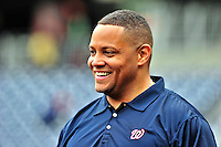 24 April 2010: Washington Nationals' director of travel Rob McDonald chats with players prior to a game against the Los Angeles Dodgers at Nationals Park in Washington, DC. The Dodgers edged out the Nationals 4-3 in a thirteen inning game. Mandatory Credit: Ed Wolfstein Photo