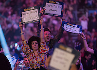 30.12.2014.  London, England.  William Hill PDC World Darts Championship.  Darts fans at the 2015 William Hill World Darts Championship.