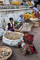 Myanmar, Burma.  Mandalay Market, Dried Fish, Bananas.