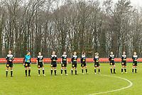 line up Eendarcht Aalst ( Chloe Van Mingeroet (17) of Eendracht Aalst , Goalkeeper Silke Baccarne (1) of Eendracht Aalst , Anke Vanhooren (7) of Eendracht Aalst , Valentine Hannecart (8) of Eendracht Aalst , Annelies Van Loock (9) of Eendracht Aalst , Tiana Andries (11) of Eendracht Aalst , Justine Blave (22) of Eendracht Aalst , Stephanie Van Gils (27) of Eendracht Aalst , Loes Van Mullem (33) of Eendracht Aalst , Margaux Van Ackere (37) of Eendracht Aalst , Niekie Pellens (41) of Eendracht Aalst ) pictured before a female soccer game between Standard Femina de Liege and Eendracht Aalst on the 12 th matchday of the 2020 - 2021 season of Belgian Scooore Womens Super League , saturday 30 th of January 2021 in Angleur , Belgium . PHOTO SPORTPIX.BE   SPP   STIJN AUDOOREN