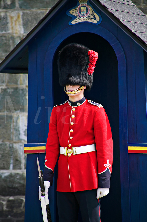 Guard at guard station, old fort Quebec City, Canada