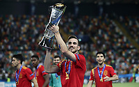 Spain's Fabian Ruiz holds up the trophy at the end of the Uefa Under 21 Championship 2019 football final match between Spain and Germany at Udine's Friuli stadium, Italy, June 30, 2019. Spain won 2-1.<br /> UPDATE IMAGES PRESS/Isabella Bonotto