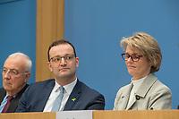 """Bundesgesundheitsminister Jens Spahn (CDU), (2.vl.) und Bundesforschungsministerin Anja Karliczek (CDU), (2.vr.) stellten am Dienstag den 29. Januar 2019 in Berlin die """"Nationale Dekade gegen Krebs"""" vor. Ziel sei, """"Krebserkrankungen moeglichst verhindern, Heilungschancen durch neue Therapien verbessern, Lebenszeit und -qualitaet von Betroffenen erhoehen"""".<br /> Links: Dr. h.c. Fritz Pleitgen, Praesident der Deutschen Krebshilfe.<br /> 29.1.2019, Berlin<br /> Copyright: Christian-Ditsch.de<br /> [Inhaltsveraendernde Manipulation des Fotos nur nach ausdruecklicher Genehmigung des Fotografen. Vereinbarungen ueber Abtretung von Persoenlichkeitsrechten/Model Release der abgebildeten Person/Personen liegen nicht vor. NO MODEL RELEASE! Nur fuer Redaktionelle Zwecke. Don't publish without copyright Christian-Ditsch.de, Veroeffentlichung nur mit Fotografennennung, sowie gegen Honorar, MwSt. und Beleg. Konto: I N G - D i B a, IBAN DE58500105175400192269, BIC INGDDEFFXXX, Kontakt: post@christian-ditsch.de<br /> Bei der Bearbeitung der Dateiinformationen darf die Urheberkennzeichnung in den EXIF- und  IPTC-Daten nicht entfernt werden, diese sind in digitalen Medien nach §95c UrhG rechtlich geschuetzt. Der Urhebervermerk wird gemaess §13 UrhG verlangt.]"""