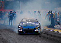 Sep 1, 2017; Clermont, IN, USA; NHRA pro stock driver Alan Prusiensky during qualifying for the US Nationals at Lucas Oil Raceway. Mandatory Credit: Mark J. Rebilas-USA TODAY Sports