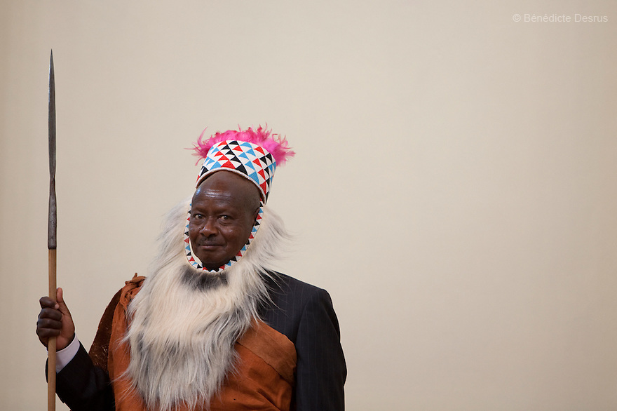 Portrait of Ugandan President Yoweri Museveni wearing traditional Tooro kingdom ceremonial costum before the King's coronation. The Ugandan President is attending the18th birthday and coronation celebrations of Uganda's King of the Tooro Kingdom, King Oyo Nyimba Kabamba Iguru Rukidi IV in Karuzika Royal Palace at Fort Portal. King Oyo is one of the world's youngest ruling monarchs. He ascended to throne at age three after his father, King Olimi Kaboyo, died of a heart attack in 1995. He rules over more than 2 million people in the Tooro kingdom, one of four kingdoms allowed by the government to exist in Uganda. Today he assumed the full duties of King of the Tooros as he reachs adulthood. Photo credit: Benedicte Desrus