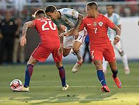 Action photo during the match Argentina vs Chile, Corresponding Group -D- America Cup Centenary 2016, at Levis Stadium<br /> <br /> Foto de accion durante el partido Argentina vs Chile, Correspondiante al Grupo -D-  de la Copa America Centenario USA 2016 en el Estadio Levis, en la foto: (i-d) Charles Aranguiz de Chile, Angel Di Maria de Argentina y Alexis Sanchez de Chile<br /> <br /> <br /> 06/06/2016/MEXSPORT/David Leah.