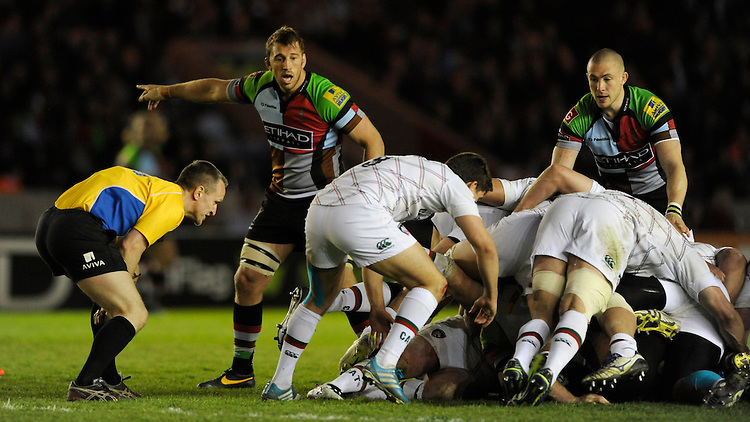 Chris Robshaw of Harlequins during the Aviva Premiership match between Harlequins and Leicester Tigers at the Twickenham Stoop on Friday 18th April 2014 (Photo by Rob Munro)