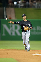 Kannapolis Intimidators shortstop Johan Cruz (20) makes a throw to first base against the Greensboro Grasshoppers at NewBridge Bank Park on July 7, 2016 in Greensboro, North Carolina.  The Dash defeated the Pelicans 13-9.  (Brian Westerholt/Four Seam Images)