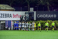 players entering the field pictured during a female soccer game before Sporting Charleroi and KRC Genk Ladies on the 9th matchday of the 2020 - 2021 season of Belgian Scooore Womens Super League , friday 11 th of December 2020  in Marcinelle , Belgium . PHOTO SPORTPIX.BE | SPP | STIJN AUDOOREN