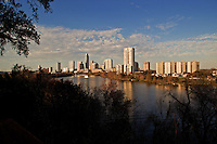 Austin skyline late afternoon with beautiful sky illustration
