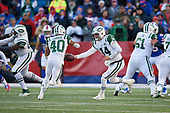 New York Jets quarterback Sam Darnold (14) hands off to running back Trenton Cannon (40) during an NFL football game against the Buffalo Bills, Sunday, December 9, 2018, in Orchard Park, N.Y.  (Mike Janes Photography)