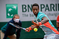 28th September 2020, Roland Garros, Paris, France; French Open tennis, Roland Garros 2020;   200929 -- PARIS, Sept. 29, 2020 -- Gael Monfils returns a shot during the men s singles first round match between Gael Monfils of France and Alexander Bublik of Kazakhstan at French Open tennis tournament 2020 at Roland Garrin Paris, France, Sept. 28, 2020. Photo by /Xinhua SPFRANCE-PARIS-TENNIS-ROLAND GARROS-FRENCH OPEN-DAY 2 AurelienxMorissard