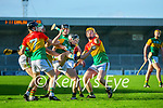 Shane Conway, Kerry in action against Richard Coady, Carlow, Paul Doyle, Carlow and Ger Coady, Carlow during the Joe McDonagh hurling cup fourth round match between Kerry and Carlow at Austin Stack Park on Saturday.