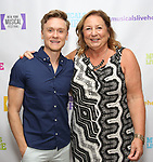 """Josh Canfield and Barbara Chubb backstage at the New York Musical Festival production of  """"Alive! The Zombie Musical"""" at the Alice Griffin Jewel Box Theatre on July 29, 2019 in New York City."""