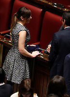 Il Ministro per le Riforme Costituzionali ed i Rapporti con il Parlamento Maria Elena Boschi durante la seduta comune di deputati e senatori per l'elezione del nuovo Presidente della Repubblica, alla Camera dei Deputati, Roma, 30 gennaio 2015.<br /> Italian Constitutional Reforms and Relations with Parliament Minister Maria Elena Boschi attends a joint plenary session of senators and deputies to vote for the election of the new President, at the Lower Chamber, Rome, 30 January 2015.<br /> UPDATE IMAGES PRESS/Riccardo De Luca