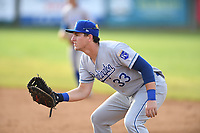 Burlington Royals first baseman Vinnie Pasquantino (33) in action during a game with the Bristol Pirates at Boyce Cox Field on June 19, 2019 in Bristol, Virginia. The Royals defeated the Pirates 1-0. (Tracy Proffitt/Four Seam Images)