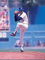 Los Angeles Dodgers Orel Hershiser (55) in action during a game from his 1988 season with Los Angeles Dodgers in Chavez Ravine, California. Orel Hershiser  played for 18 years with 4 different teams.